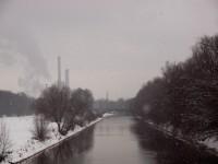 Isar im Schneetreiben