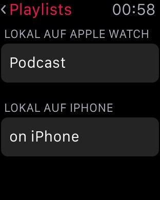 Auswahl der Podcasts auf Apple Watch